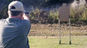The author shooting the Mozambique drill at the range
