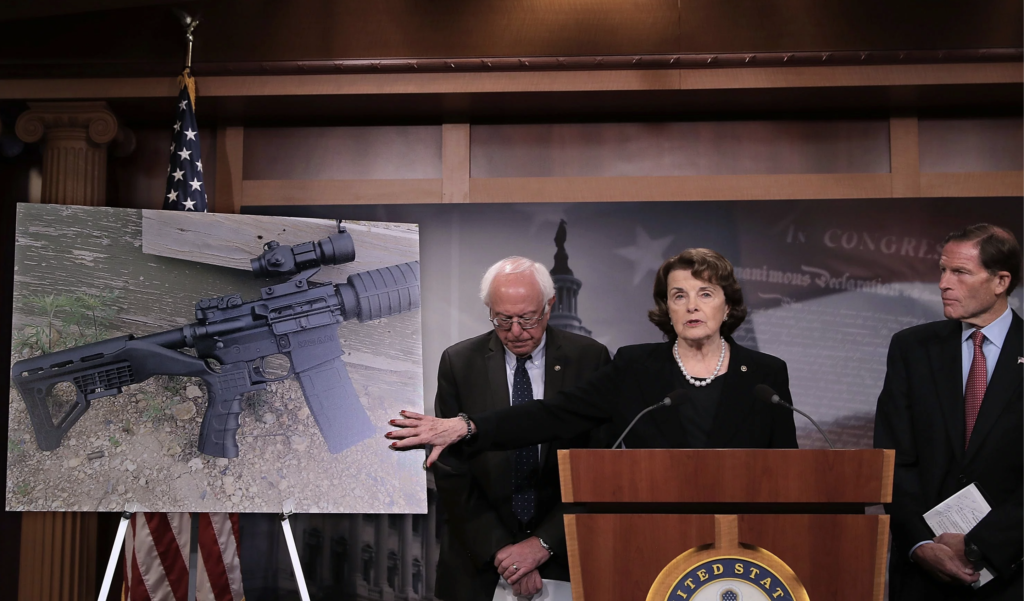 Senator Dianne Feinstein pitching a renewal of the assault weapons ban in 2017