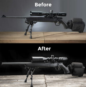 An upgraded savage b-22 rifle designed to become a more accurate firearm with customizations.