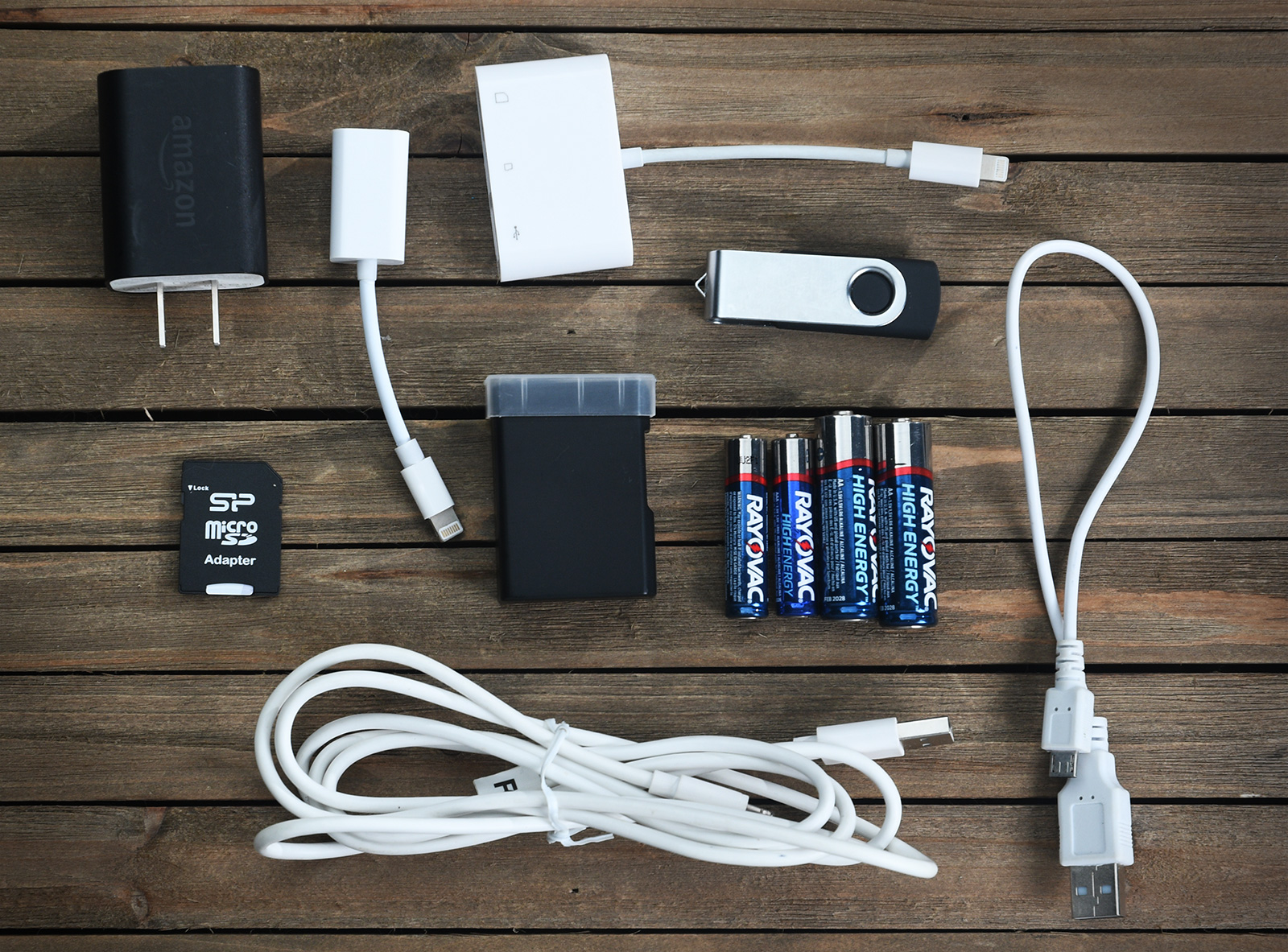 Everyday cords, cables and batteries