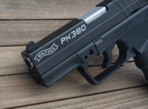 Front rail on a Walther PK380 pistol