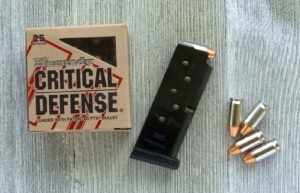 Ammo for Pocket pistols on a table with magazine