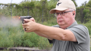 Kevin, the author of this review, shooting the CPX-2 at a shooting range.