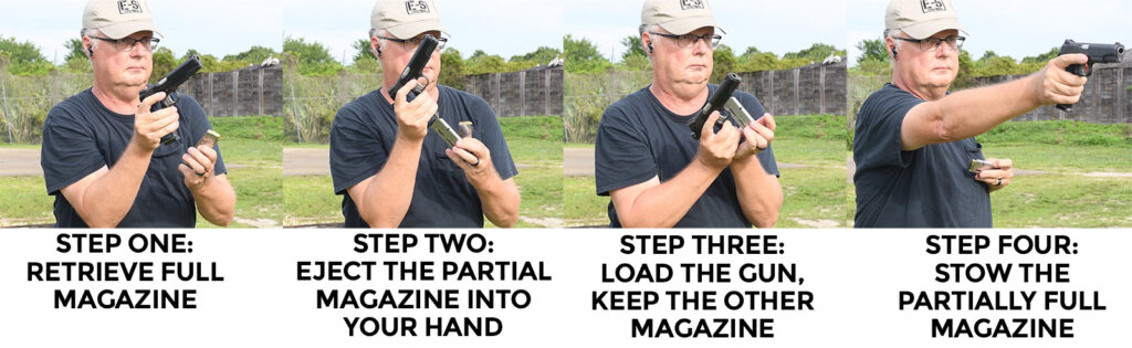 Performing a tactical reload with a pistol