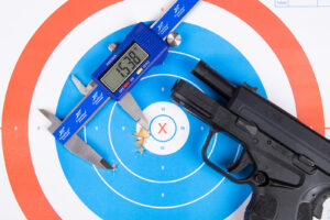 XD-S pistol and target used for accuracy tests as part of our review